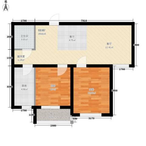 盛秦福地2室1厅1卫1厨65.00㎡户型图