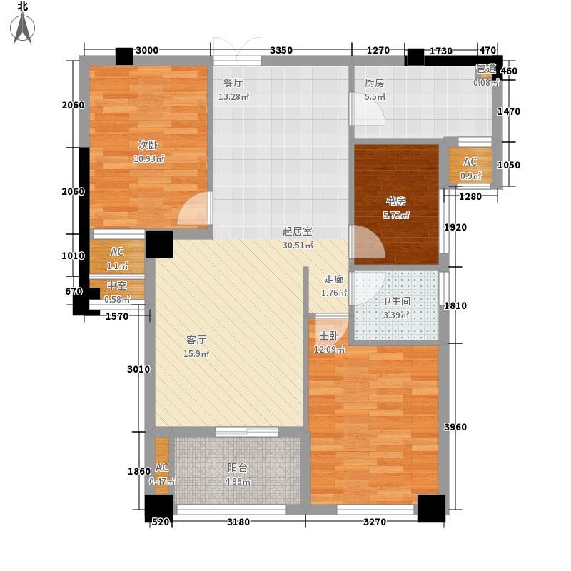 小米时代A2约89平三房两厅一卫户型