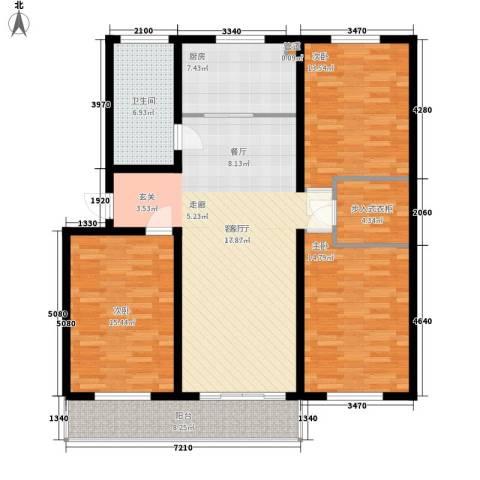 山水人家小区3室1厅1卫1厨116.00㎡户型图