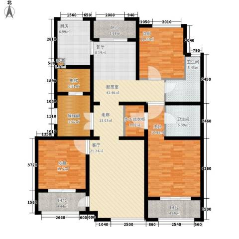 上河湾3室0厅2卫1厨148.00㎡户型图
