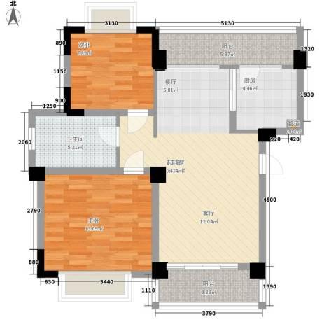 天雨一号2室0厅1卫1厨75.00㎡户型图