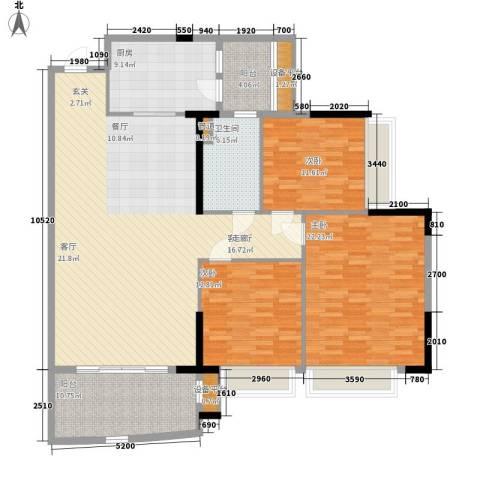 半岛蓝湾3室1厅1卫1厨141.00㎡户型图
