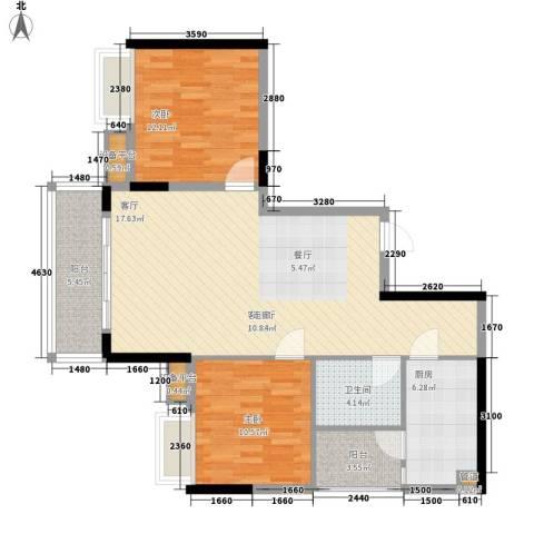 黄龙花园2室1厅1卫1厨109.00㎡户型图