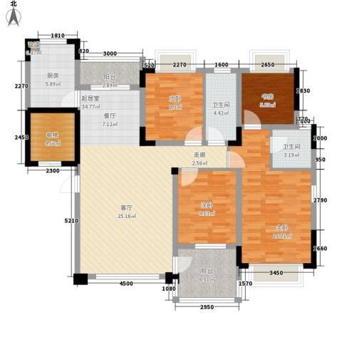 协信庭院时光4室0厅2卫1厨115.00㎡户型图