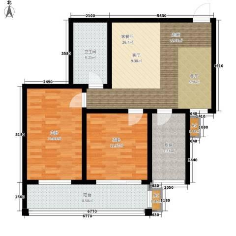 河畔景苑杰座2室1厅1卫1厨87.00㎡户型图