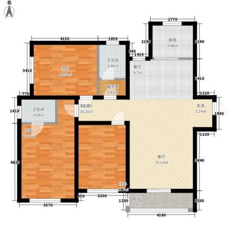 盛秦福地3室1厅2卫1厨110.04㎡户型图