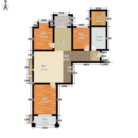 河畔景苑杰座3室1厅1卫1厨121.00㎡户型图