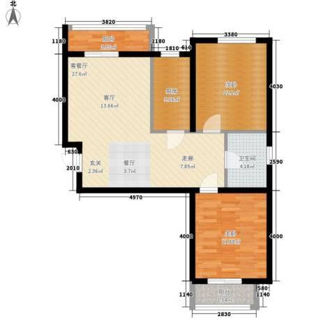 盛秦福地2室1厅1卫1厨76.24㎡户型图