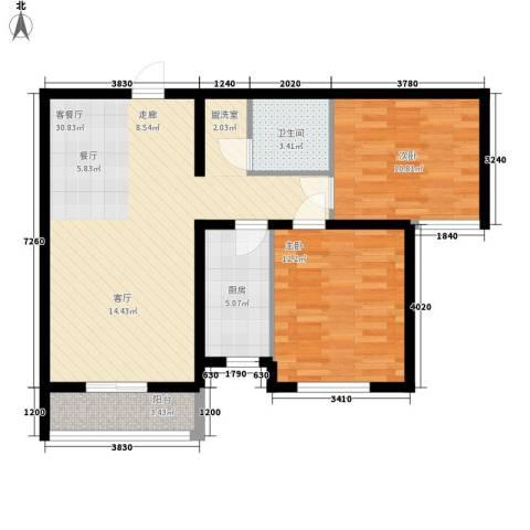 盛秦福地2室1厅1卫1厨75.00㎡户型图