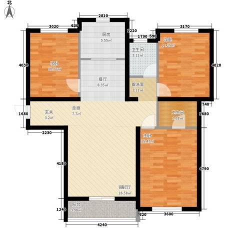 盛秦福地3室1厅2卫1厨101.22㎡户型图