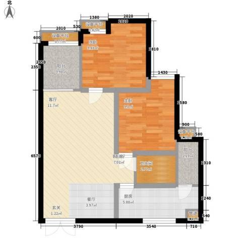 黄龙花园2室1厅1卫1厨86.00㎡户型图