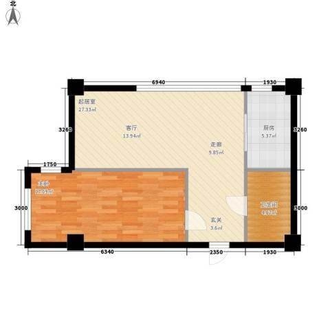 盛秦福地1室0厅1卫1厨60.84㎡户型图
