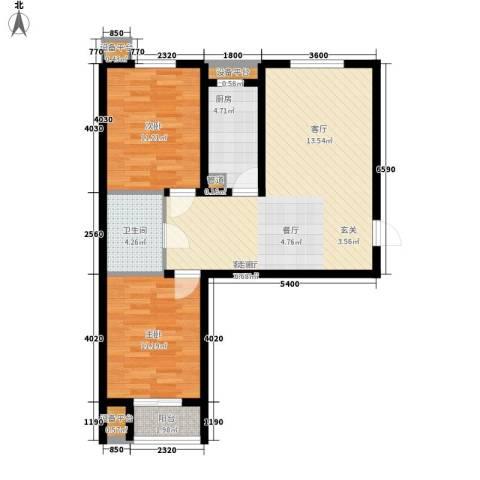 盛秦福地2室1厅1卫1厨73.65㎡户型图
