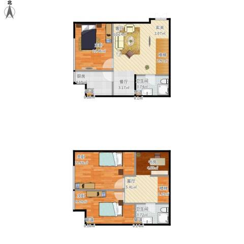 诚基中心3室1厅2卫1厨105.00㎡户型图