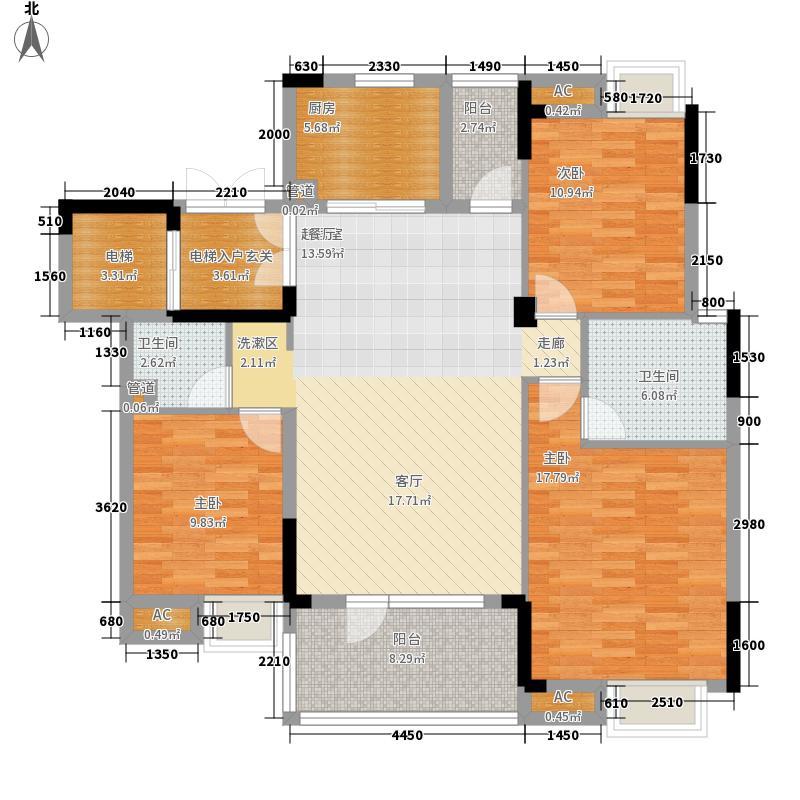 百瑞景中央生活区131.00㎡小高层4号楼D户型2室2厅