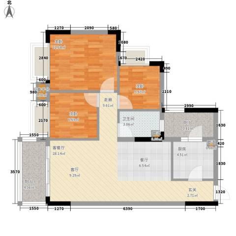 安南丽苑3室1厅1卫1厨98.00㎡户型图