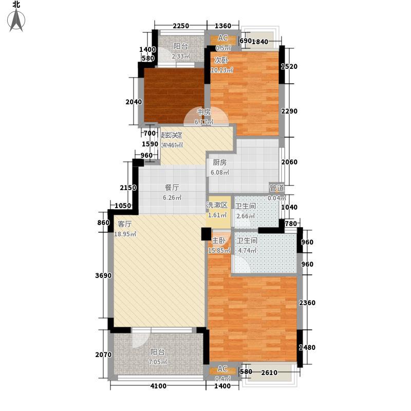 百瑞景中央生活区110.00㎡小高层1-4号楼B1户型3室2厅