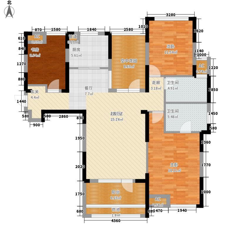 百瑞景中央生活区138.00㎡二期N户型3室2厅