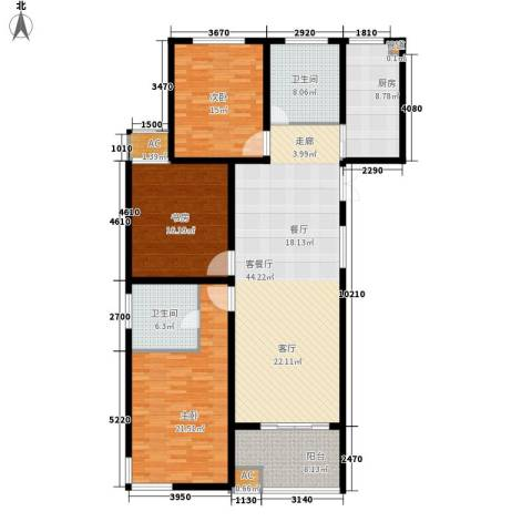 铭洋盛世钱门3室1厅2卫1厨146.45㎡户型图
