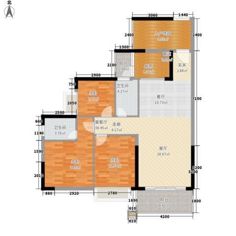 雍华庭3室1厅2卫1厨145.00㎡户型图
