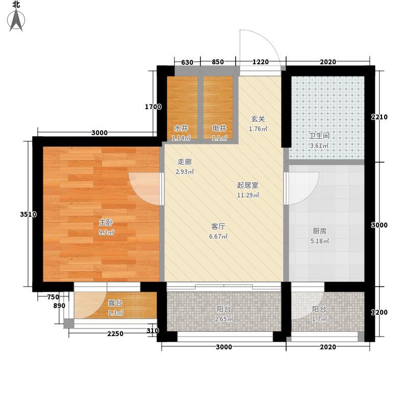 盟科涵舍63.79㎡6、7号楼B户型1室1厅