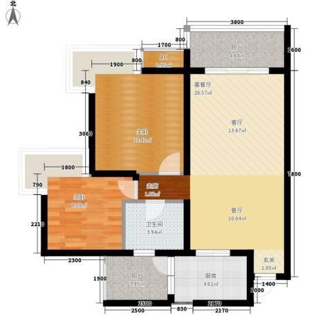 富悦新城2室1厅1卫1厨89.00㎡户型图