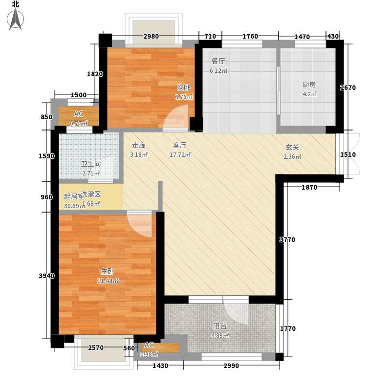 百瑞景中央生活区93.00㎡8-10号楼A1户型2室2厅