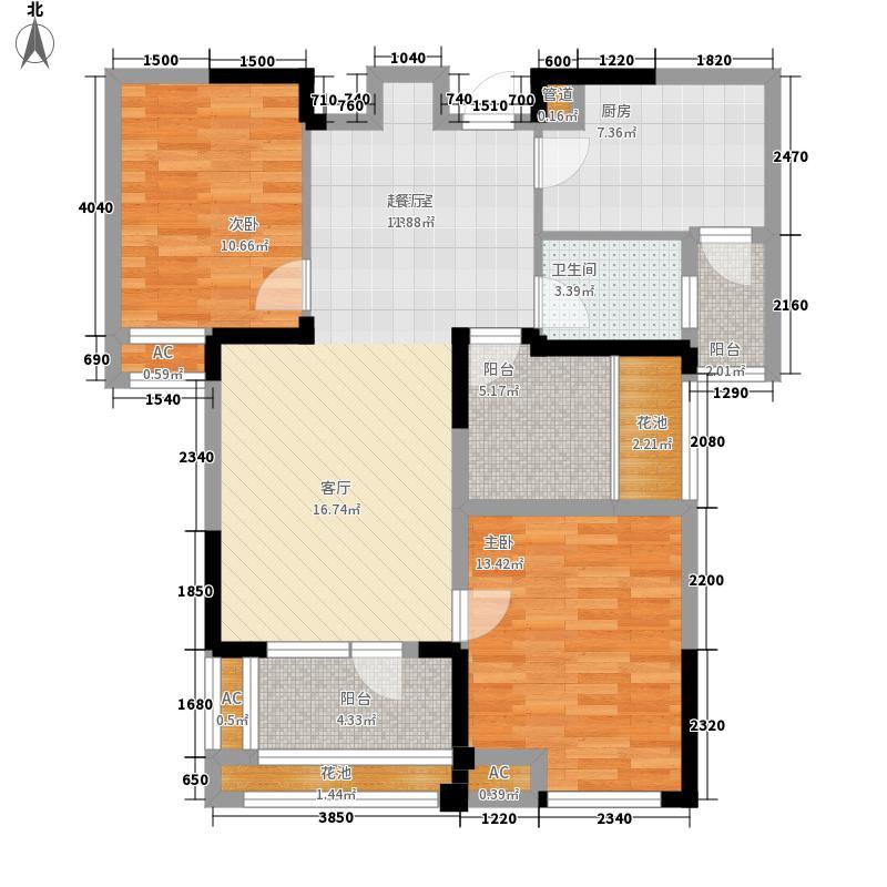 百瑞景中央生活区90.01㎡二期西区04-J户型2室2厅
