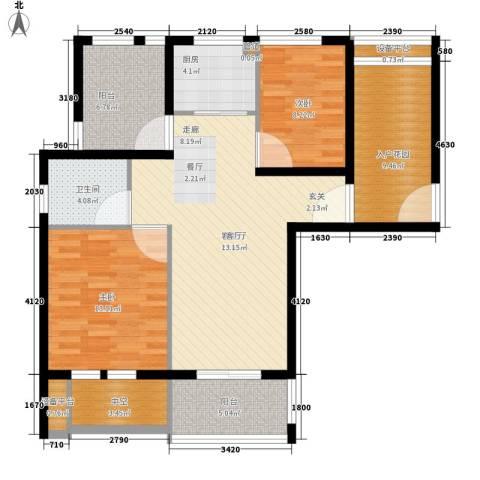 汇景东方花园三期2室1厅1卫1厨87.00㎡户型图