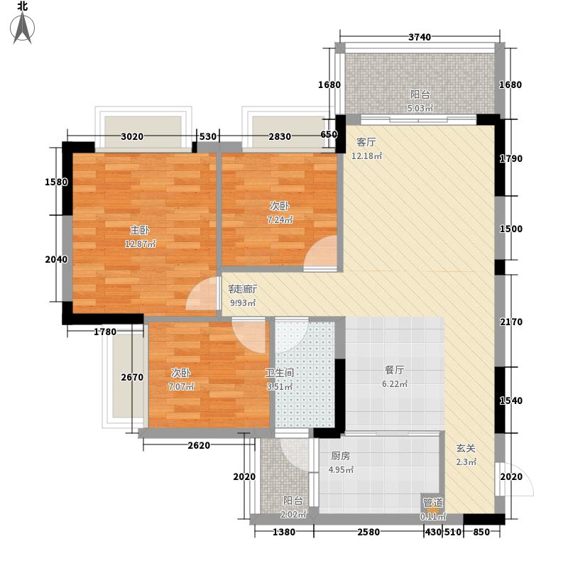 安南丽苑91.41㎡22、23、25栋03房 3房2厅1卫户型3室2厅1卫