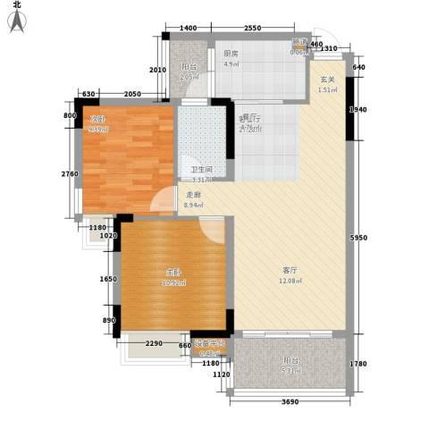 安南丽苑2室1厅1卫1厨92.00㎡户型图