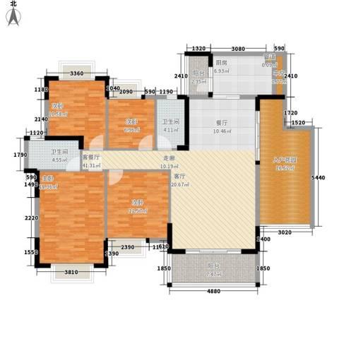 安南丽苑4室1厅2卫1厨154.00㎡户型图