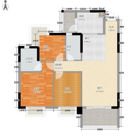 安南丽苑3室1厅2卫1厨113.00㎡户型图