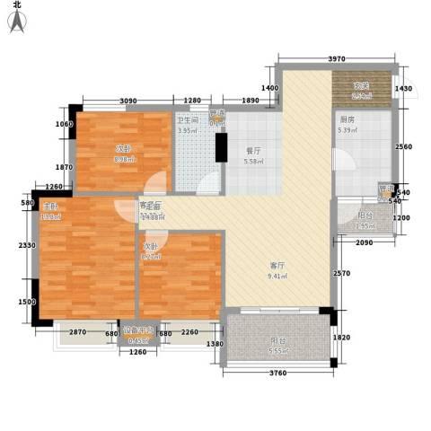 安南丽苑3室1厅1卫1厨114.00㎡户型图