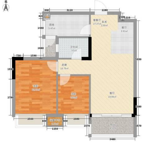 安南丽苑2室1厅1卫1厨89.00㎡户型图