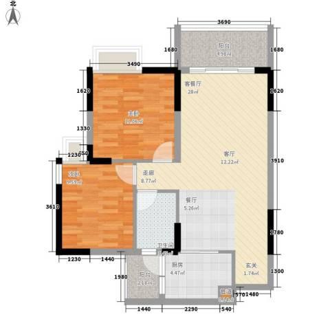 安南丽苑2室1厅1卫1厨82.00㎡户型图