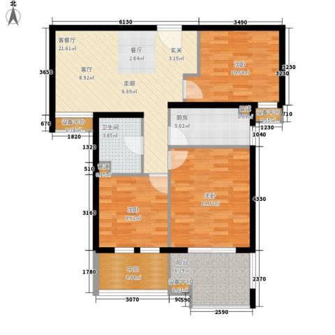汇景东方花园三期3室1厅1卫1厨85.00㎡户型图