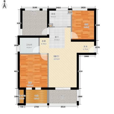 汇景东方花园三期2室1厅1卫1厨89.00㎡户型图