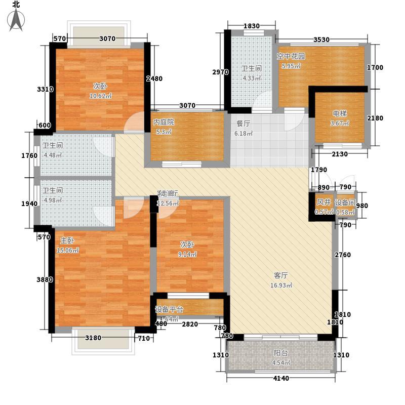 太平洋国际131.25㎡6栋A座01单元4室户型