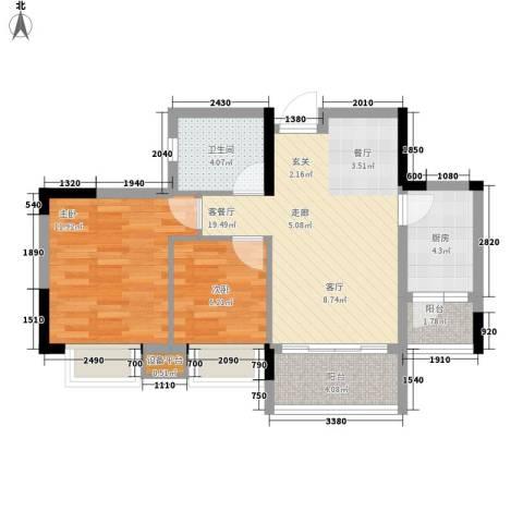 安南丽苑2室1厅1卫1厨76.00㎡户型图