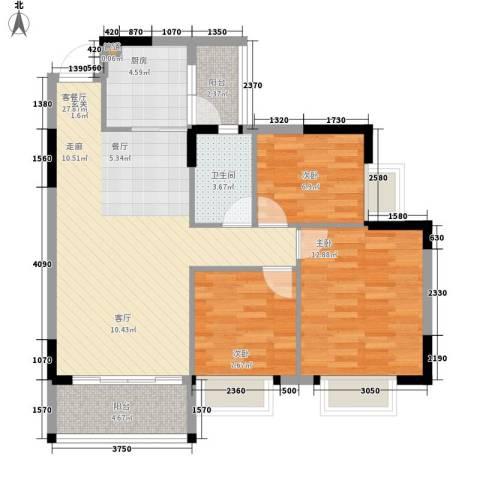 安南丽苑3室1厅1卫1厨91.00㎡户型图