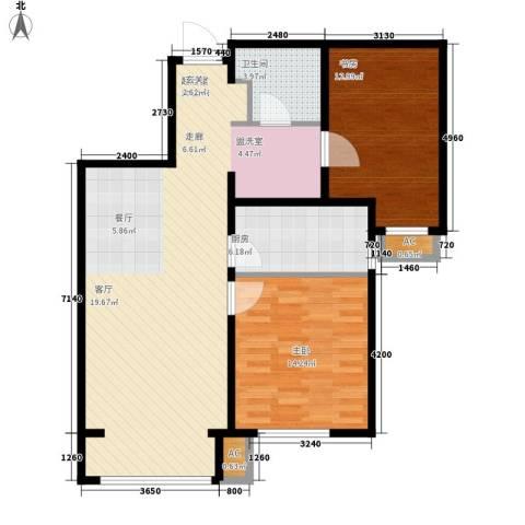 假日盈润园2室0厅1卫1厨87.00㎡户型图
