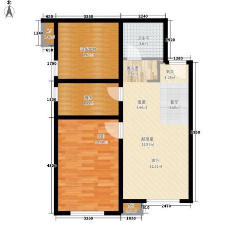 假日盈润园1室0厅1卫1厨62.00㎡户型图
