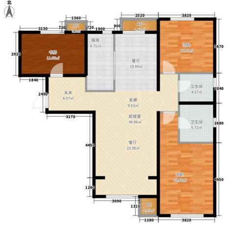 假日盈润园3室0厅2卫1厨127.00㎡户型图