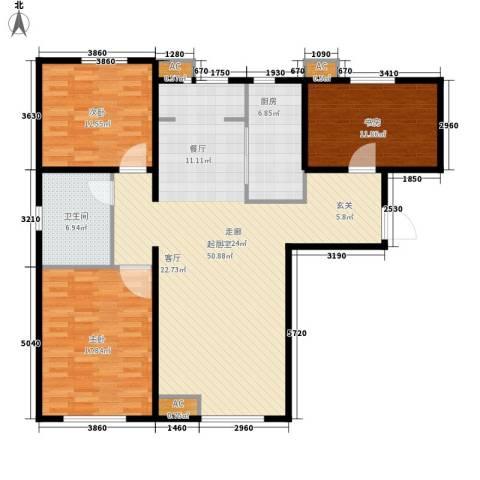 假日盈润园3室0厅1卫1厨120.00㎡户型图