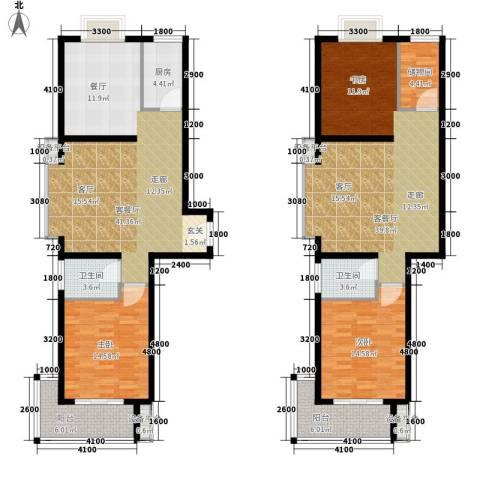江林新城2室2厅2卫1厨195.00㎡户型图