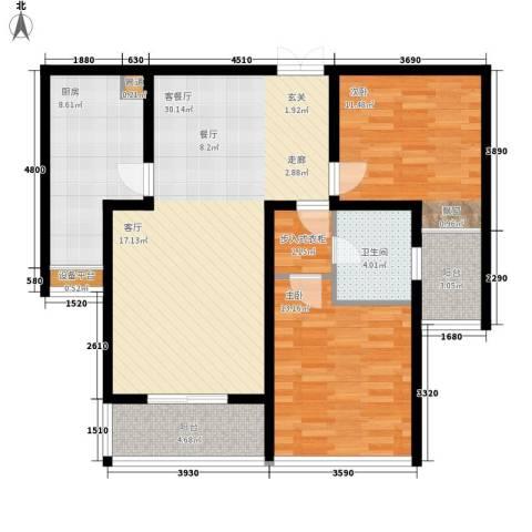 如东中央广场2室1厅1卫1厨112.00㎡户型图
