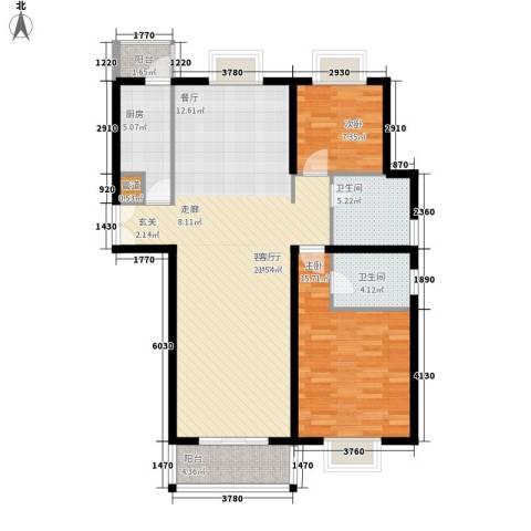 如东中央广场2室1厅2卫1厨125.00㎡户型图