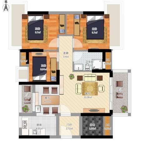 万科柏悦湾3室1厅1卫1厨103.00㎡户型图