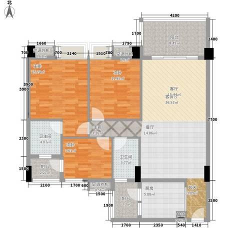 地王广场翰林3室1厅2卫1厨136.00㎡户型图